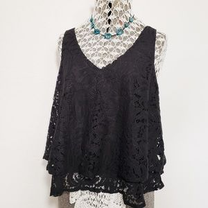 Womens Black Lace Sleeveless Top